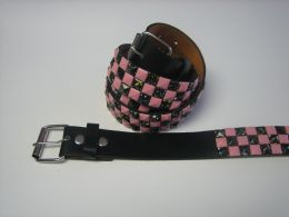 96 Units of Pink And Black Checkerboard Studded Belt - Unisex Fashion Belts
