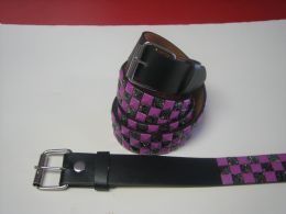 96 Units of Purple And Black Checkerboard Studded Belt - Unisex Fashion Belts
