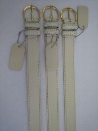 96 Units of Skinny White Belt Thin Waist Jeans Belt For Pants In Pin Buckle Belt - Unisex Fashion Belts