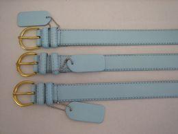 96 Units of Skinny Sky Blue Belt Thin Waist Jeans Belt For Pants In Pin Buckle Belt - Unisex Fashion Belts