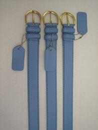 96 Units of Skinny Blue Belt Thin Waist Jeans Belt For Pants In Pin Buckle Belt - Unisex Fashion Belts