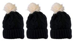 "3 Units of Yacht & Smith Womens Winter Cable Knit Pom Pom Beanie Hat, 3"" Poms, Black - Winter Beanie Hats"