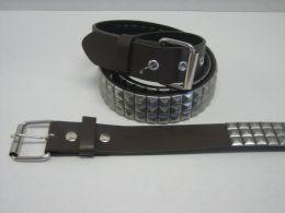 96 Units of 3 Row Pyramid Studded Belt - Unisex Fashion Belts