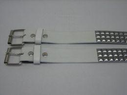 96 Units of 3 Row Pyramid Studded Belt In White - Unisex Fashion Belts