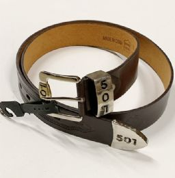 48 Units of Men 501 Leather Belts Brown In Assorted Size - Mens Belts