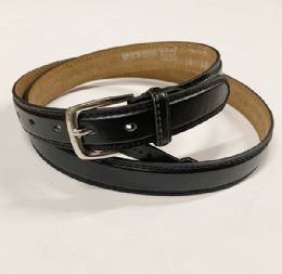 48 Units of Mens Plain Black Belts Assorted Sizes - Mens Belts