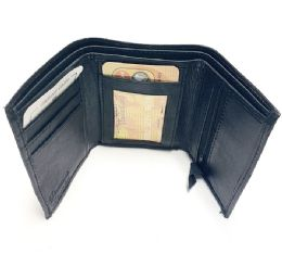 24 Units of Tri Folded Wallet In Black - Leather Wallets