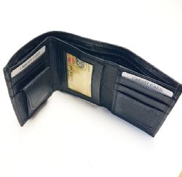 24 Units of Men Black Tri-fold Leather Wallet - Leather Wallets