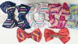 144 Units of Girls Striped Assorted Colored Hair Clip - Hair Accessories