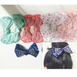 120 Units of Girls Floral Assorted Colored Hair Clip - Hair Accessories