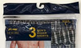 36 Units of Men Grid Shorts Mixed Colors And Sizes - Mens Underwear