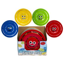 24 Units of Flying Disc With Smiley Face 11.5in 4ast Colors - Summer Toys