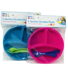 72 Units of 3 SECTION PLATE WITH FORK AND SPOON - Baby Utensils