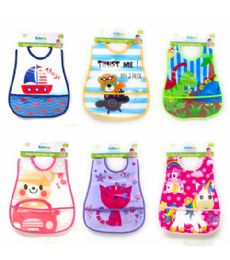 72 Units of Easy Clean Bib With Pocket 6 Assorted - Baby Care