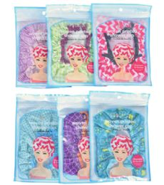 72 Units of Fully Lined Woven Shower Cap Spa Savvy - Shower Caps
