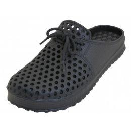 36 Units of Men Slip On Hollow Upper Open Back Soft Clogs Black Color - Men's Slippers