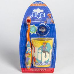 24 Units of Toothbrush Gift Set Blippi Toothbrush Cup Cap - Toothbrushes and Toothpaste