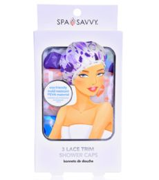 48 Units of 3 Piece Peva Shower Caps Spa Savvy - Shower Caps