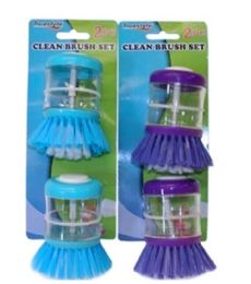 48 Units of 2 PIECE CLEAN BRUSH SET WITH SOAP DISPENSOR - Scouring Pads & Sponges