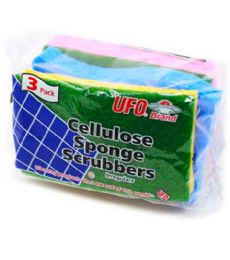 120 Units of 3 PIECE CELLULOSE SPONGE SCRUBBER - Scouring Pads & Sponges