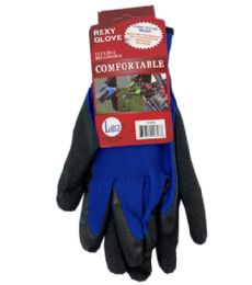 72 Units of Blue Poly Glove With Blue Latex Coated Large - Working Gloves