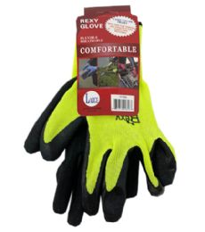 72 Units of Green Poly Glove With Black Latex Coated Large - Working Gloves