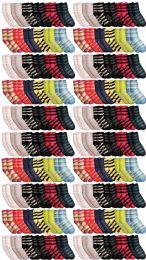 120 Units of Yacht & Smith Womens Soft Fuzzy Gripper Crew Socks, Assorted Striped Size 9-11 - Womens Fuzzy Socks