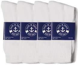 12 Units of Yacht & Smith Mens Cotton White Crew Socks, Sock Size 10-13 - Men's Socks for Homeless and Charity