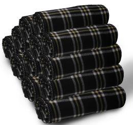 24 Units of Yacht & Smith 50x60 Fleece Blanket, Soft Warm Compact Travel Blanket, Black Plaid - Fleece & Sherpa Blankets