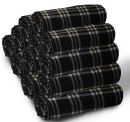 24 Units of Bulk Soft Fleece Blankets 50 X 60, Cozy Warm Throw Blanket Sofa Travel Outdoor, Wholesale (50 X 60, 24 Pack Black Plaid) - Fleece & Sherpa Blankets