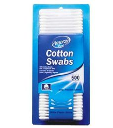 96 Units of Amoray Cotton Swab Blister 500 Count - Cotton Balls & Swabs