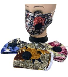 24 Units of Cloth Mask Flower Pattern With Filter - Face Mask
