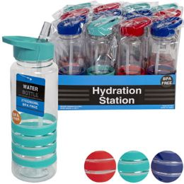 12 Units of Water Bottle Plastic With Straw - Drinking Water Bottle