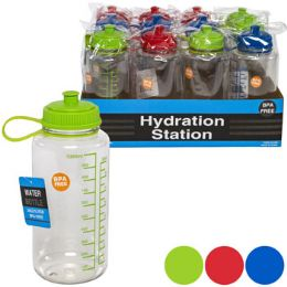 12 Units of Water Bottle 1liter Plastic With Measure Three Assorted Colors - Drinking Water Bottle