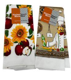 144 Units of Assorted Designs Kitchen Towels Micro Fiber - Kitchen Towels