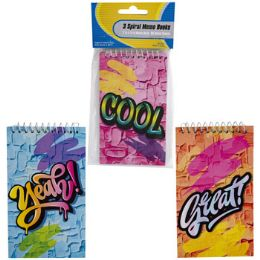 48 Units of Memo Book 3pk 60sht Graffiti Top Spiral Bound Stat Pbh - Note Books & Writing Pads