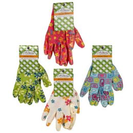 48 Units of Gloves Garden Ladies Printed Nitrile Coated 4ast Prints - Gardening Gloves
