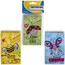 48 Units of Memo Book 3pk 60sht Bug Life Top Spiral Bound Stat Pbh - Note Books & Writing Pads