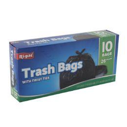 24 Units of Trash Bags 10ct - 26 Gallon Black - Garbage & Storage Bags