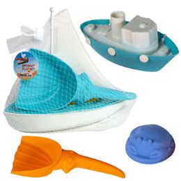 18 Units of Boat Playset 3pc W/beach Tools 2asst Tug Or Sail Mesh Bag W/ht - Summer Toys