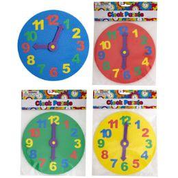 24 Units of Foam Puzzle Clock 8.25in 4asst Colors 7mm Pbh - Puzzles