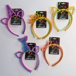 36 Units of Party Headband 3pk Plastic 5asst Styles/asst Colors Tcd - Party Supplies