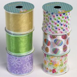 48 Units of Ribbon Wire Easter/spring 6ast 2.5in X 3yd 24pc Pdq - Easter