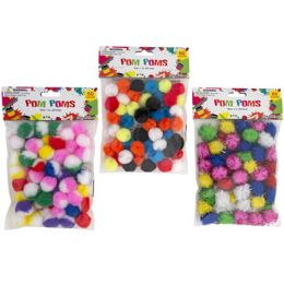 36 Units of Craft PoM-Poms 3ast Styles 60ct 1in Marble/solid/tinsel Craftpbh - Craft Tools