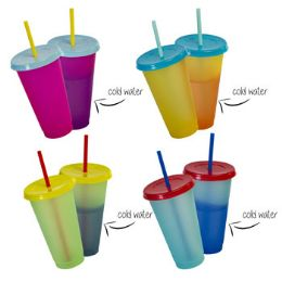 16 Units of Tumbler Color Change 6.75in Plst W/straw&lid 23.7oz 4clrs/16pcpdq - Kitchen & Dining