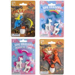 72 Units of Eraser Set Novelty 3pc Unicorn/ Dinosaur 4asst Blc - Erasers