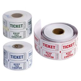36 Units of Raffle Ticket 500ct Roll 3ast Color Printing Shrink Label - Party Supplies