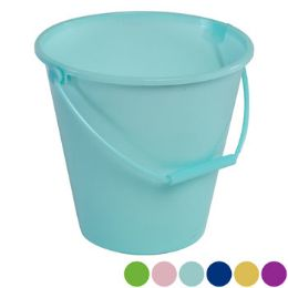 36 Units of Bucket W/handle 6ast Solid Colors/upc Label - Beach Toys