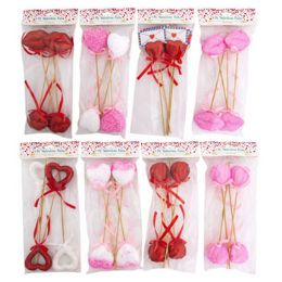 24 Units of Valentine Picks 8ast 10inl 4pk Valentine Pbh - Party Supplies