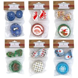24 Units of Baking Cup Kit Christmas 6ast 24-2in Cups W/24 Plastic Picks - Christmas